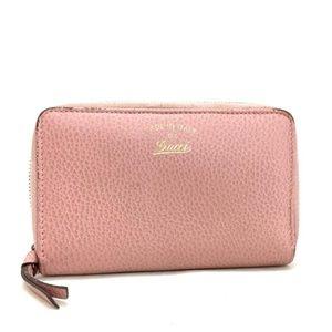 Gucci Pink Zip Around Leather Wallet